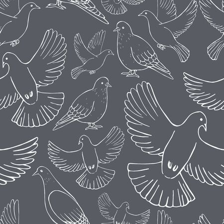 Hand drawn doves.  Vector  seamless pattern