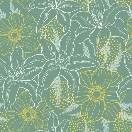 Floral background. Seamless vector pattern with hand drawn flowers Ilustración de vector