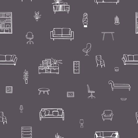 Furniture, lamps and plants for the home. Vector  seamless pattern Stock Illustratie