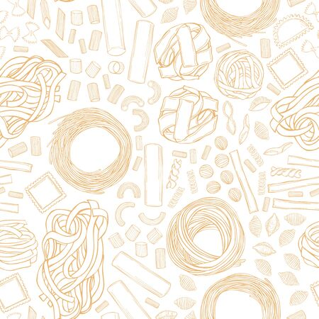Different types of dry Italian pasta. Vector seamless pattern