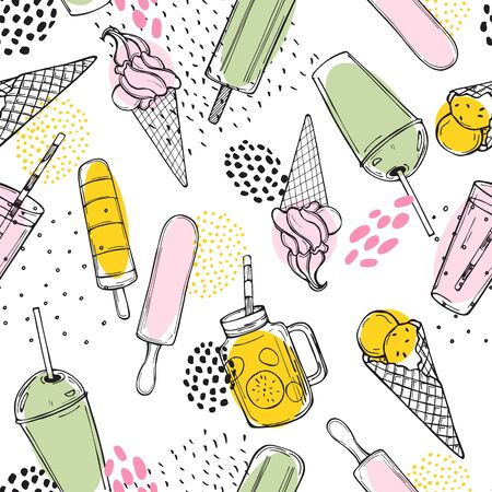 Hand drawn summer drinks,  lemonade and ice cream.    Vector seamless  pattern