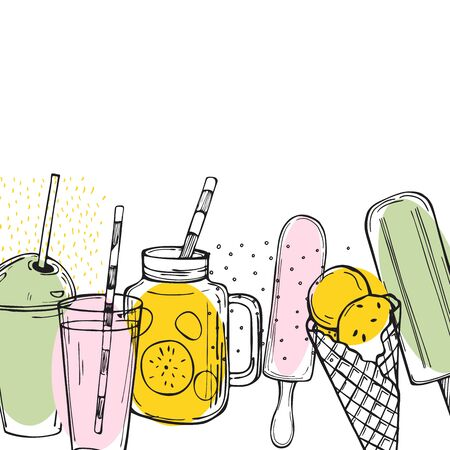 Hand drawn summer drinks,  lemonade and ice cream.   Vector background
