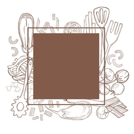 Vector frame with hand drawn pasta and vegetables on white background.Italian food. Sketch illustration.