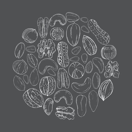 Hand drawn nuts in a circle on grey background. Vector sketch illustration.
