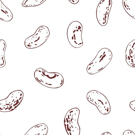 Hand drawn  haricot beans. Vector  seamless pattern