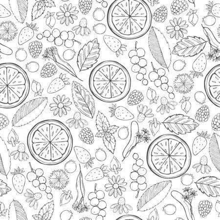 Herbal tea.  Vector  seamless pattern
