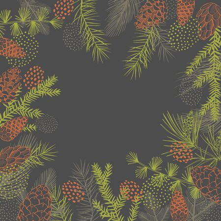 Vector background with Christmas plants. Hand-drawn ilustration. Vettoriali