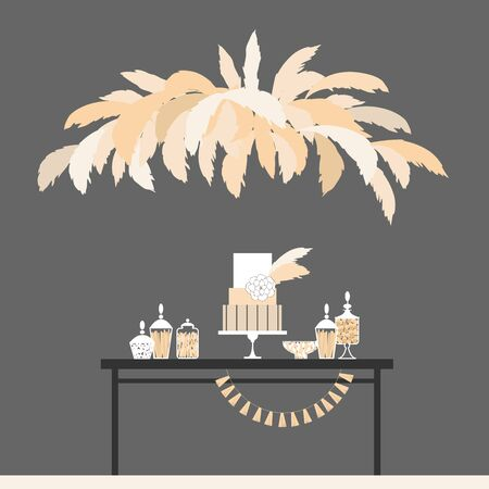 Wedding candy bar with cake and pampas grass. Dessert table.  Vector illustration.
