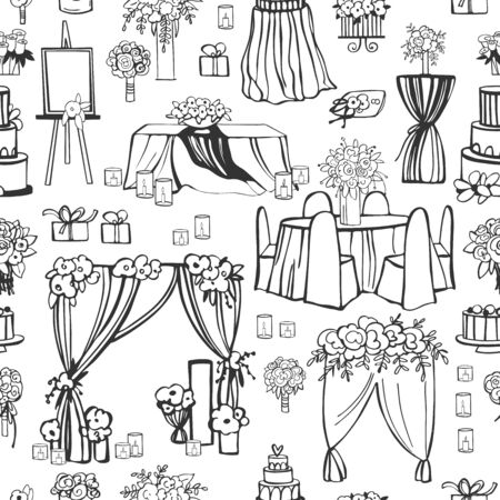 Wedding flowers, cake, decoration for tables, bridal bouquet. Vector seamless pattern.