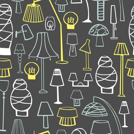 Lighting in the house. Chandeliers, floor lamps and lamps.. Vector  seamless pattern