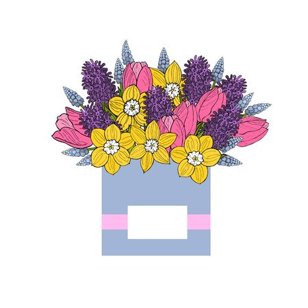 Box with spring flowers. Tulips and hyacinths. Vector sketch illustration. Vector Illustratie