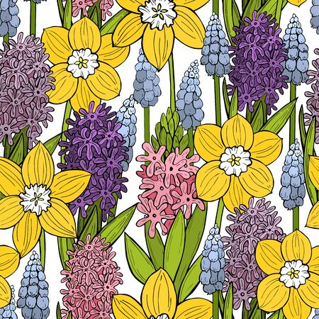Spring seamless pattern  with  hand drawn  flowers.  Vector sketch  illustration.