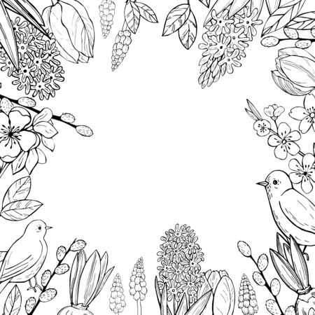 Spring background with  hand drawn birds and flowers.Vector sketch  illustration. 矢量图像