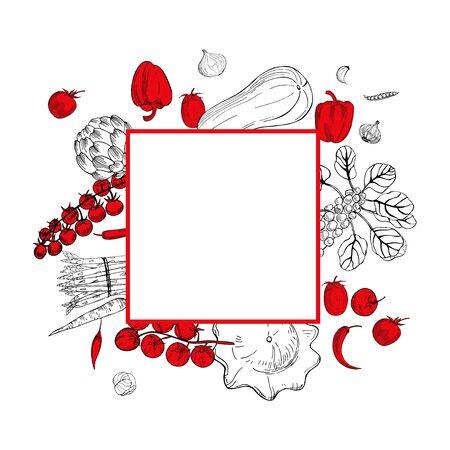 Vector frame  with  hand drawn vegetables. Sketch  illustration.   Illustration