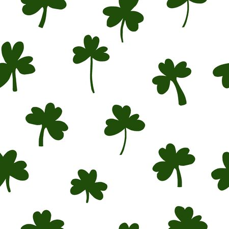 Saint Patrick's Day Vector seamless pattern with Green Clover. Ilustracja