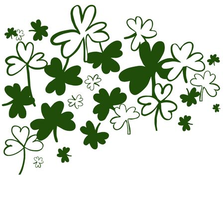 Saint Patrick's Day Vector Background with Green Clover. Sketch  illustration. Ilustracja