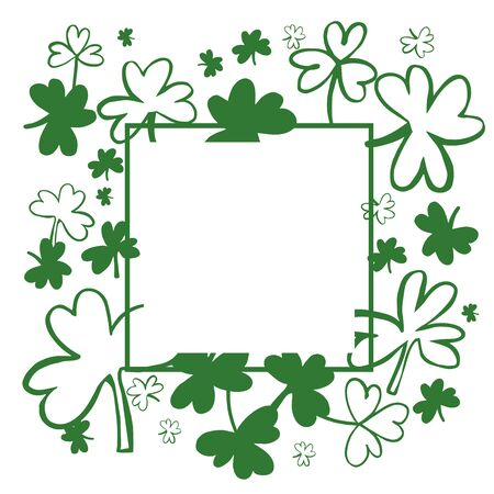 Saint Patrick's Day Vector frame  with Green Clover. Sketch  illustration.