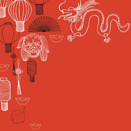 Chinese New Year vector  background.Sketch  illustration.