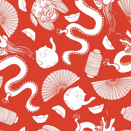 Chinese New Year  vector  seamless pattern. Sketch  illustration.