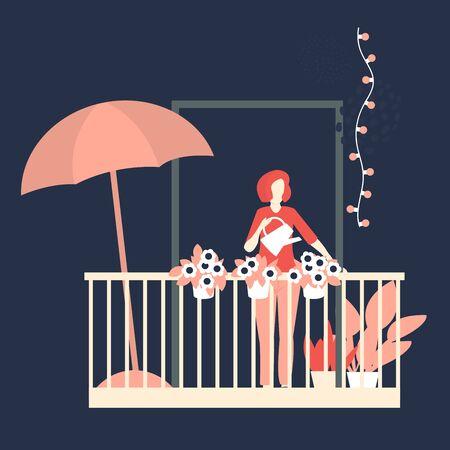 Woman watering flowers on balcony. Vector illustration Illustration