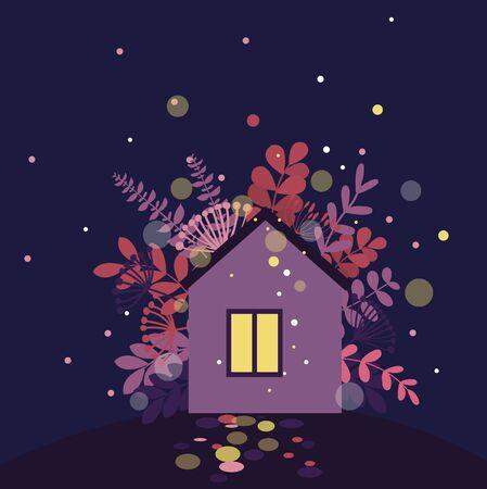 Night fairy house.Vector illustration