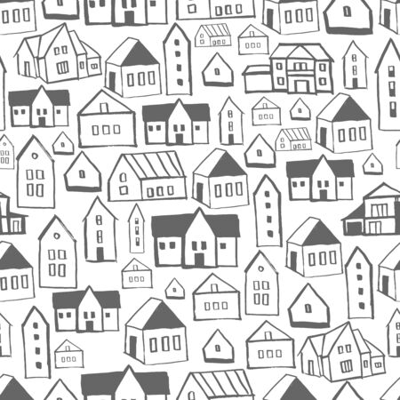 Hand drawn houses. Vector seamless pattern
