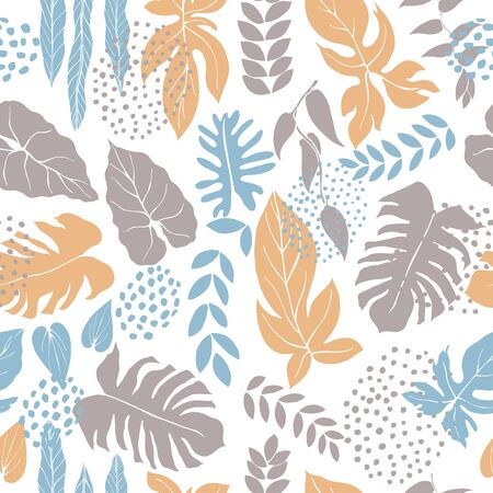 Hand drawn tropical plants. Leaves. Vector seamless pattern