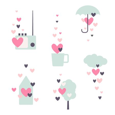 Valentine's day set. Vector illustration. 向量圖像