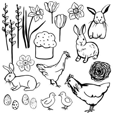 Happy Easter set. Vector sketch  illustration.