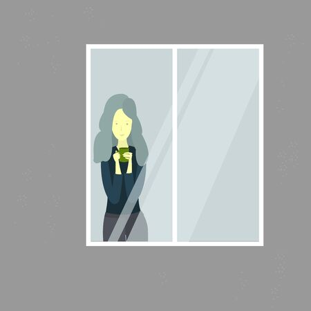 Girl is looking out the window. Young woman with cup of tea/coffee. Vector illustration Vettoriali