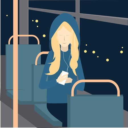 Young beautiful woman using her mobile phone on a bus. Vector illustration