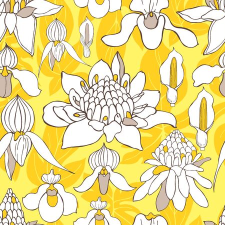 Hand  drawn tropical flowers.  Vector seamless pattern .