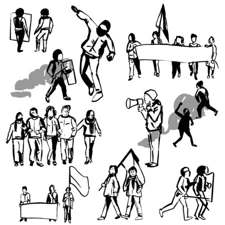 Protesters. Vector sketch illustration.