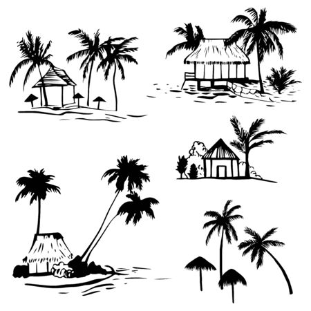 Hand drawn bungalow with palm trees on the coast. Vector sketch  illustration. Ilustrace