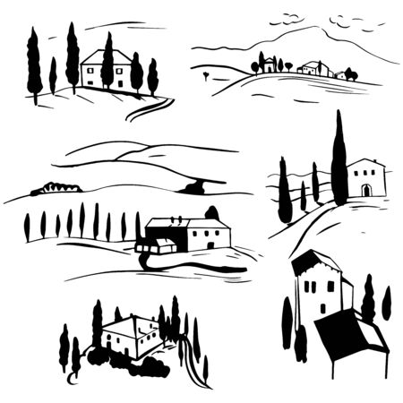 Hand drawn landscapes of Tuscany. Vector sketch illustration. Vettoriali