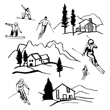 Ski resort. Chalet in the mountains. Snowboarders and skiers.Vector sketch  illustration.