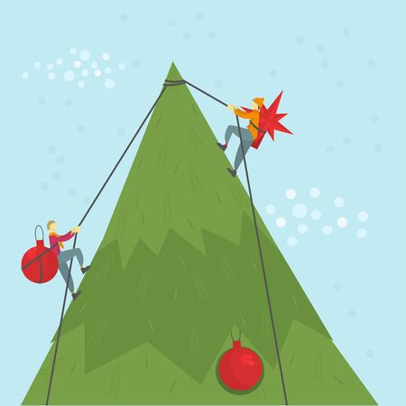 People decorate Christmas tree. Illustration of Merry Christmas card, paper print, background. Vector illustration. Фото со стока - 150476950