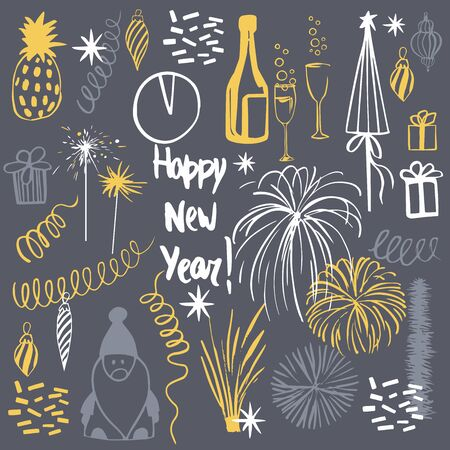 Happy New Year set. Vector sketch illustration. 向量圖像