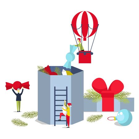 Christmas candy box. Christmas present. People put candy in the box.Vector illustration.
