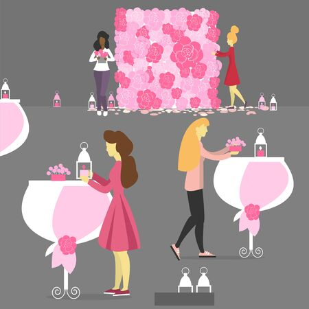 Wedding decorators decorate the interior for the wedding. Florists at work. Wedding in pink colors.Vector illustration