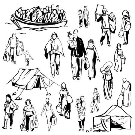 Refugees. Vector sketch  illustration.  イラスト・ベクター素材