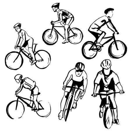 Hand drawn cyclists . Vector sketch  illustration. Ilustracja