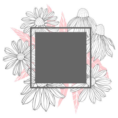 Vector frame with hand drawn flowers.
