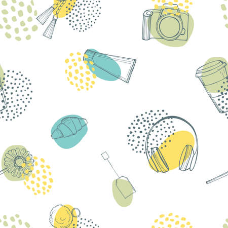 Daily life things. Vector seamless pattern
