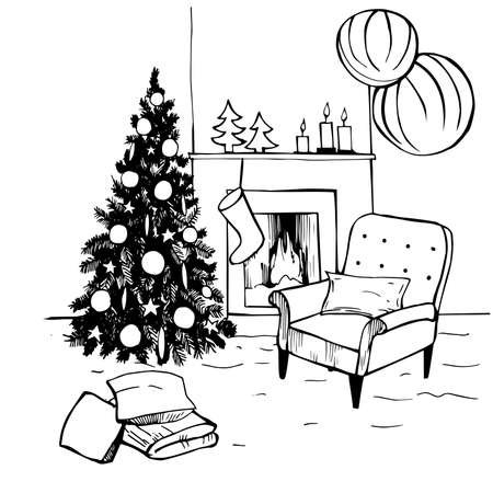 Hand drawn Christmas living room. Vector sketch illustration.