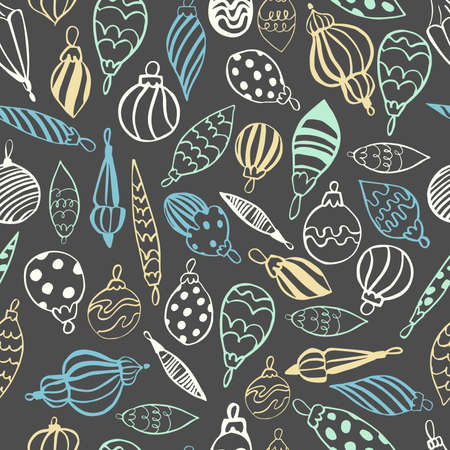 Vector seamless pattern with hand drawn Christmas balls.