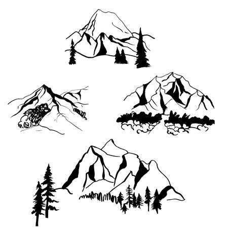 Hand drawn mountains. Vector sketch illustration.