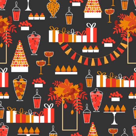 Autumn sweet table.Vector seamless pattern