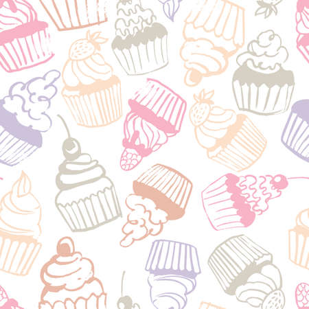 Hand drawn cupcakes. Vector seamless pattern