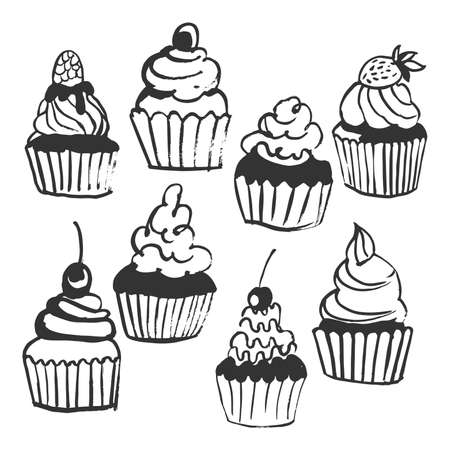 Hand drawn cupcakes. Vector sketch illustration.